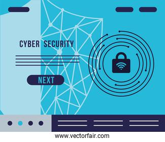 cyber security infographic with padlock and wifi waves signal