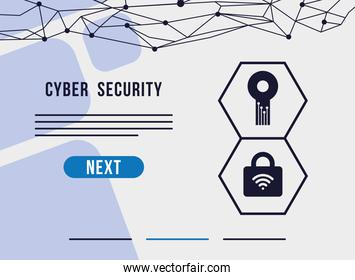 cyber security infographic with padlock and key