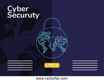 cyber security infographic with padlock and circuit earth planet