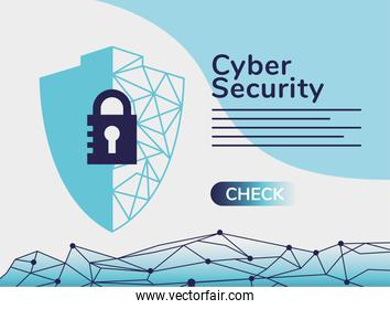 cyber security infographic with padlock in shield and circuit