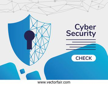cyber security infographic with shield and key hole