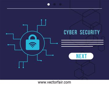 cyber security infographic with padlock and wifi signal