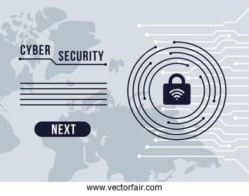 cyber security infographic with padlock and wifi signal in circuit