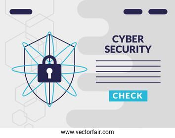cyber security infographic with padlock in shield