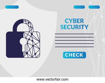 cyber security infographic with circuit in padlock