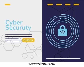 cyber security infographic with wifi in padlock