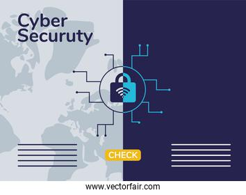 cyber security infographic with wifi in padlock and circuit
