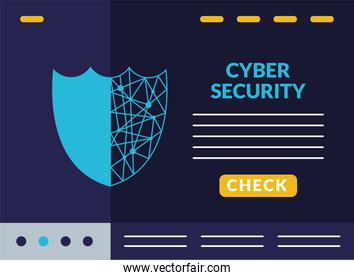 cyber security infographic with circut in shield guard
