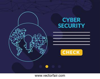 cyber security infographic with earth planet circuit in padlock