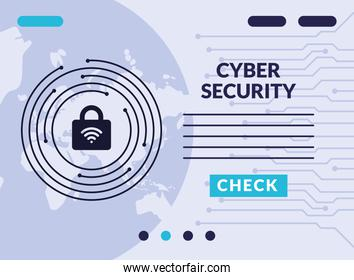 cyber security infographic with wifi signal in padlock