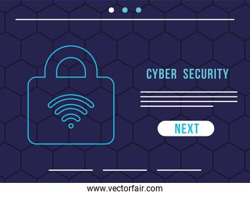 cyber security infographic with wifi waves in padlock