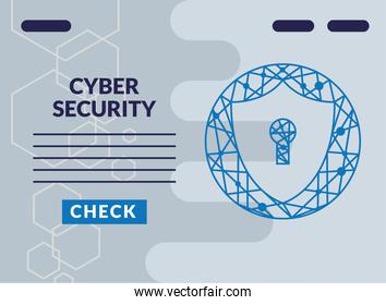 cyber security infographic with key hole in shield