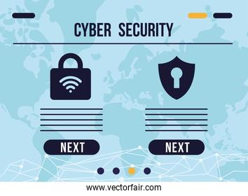 cyber security infographic with padlock and shield icons