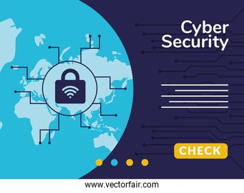 cyber security infographic with wifi and padlock in earth planet