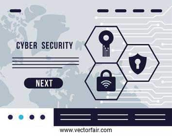 cyber security infographic with safe set icons