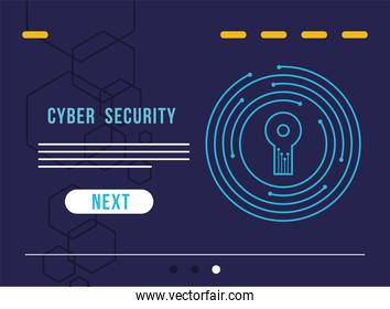 cyber security infographic with key hole in circuit