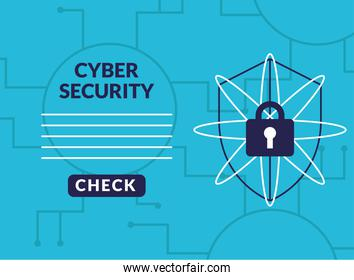 cyber security infographic with shield and padlock