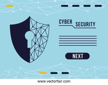 cyber security infographic with key hole and shield