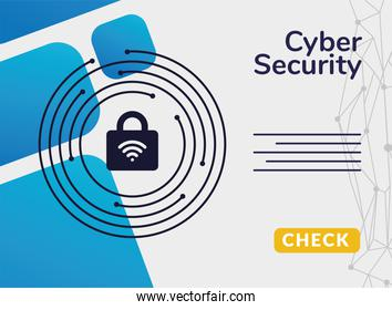 cyber security infographic with wifi waves in padlock and circuit around