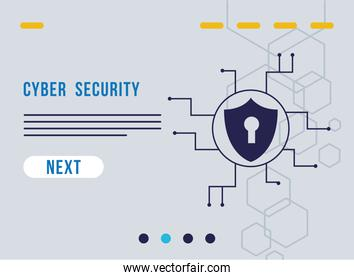 cyber security infographic with key hole in shield and circuit