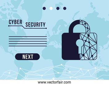 cyber security infographic with circuit in padlock and earth maps