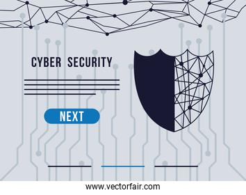 cyber security infographic with circut in shield