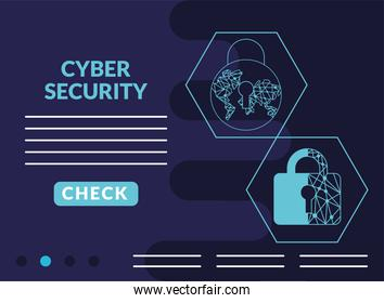 cyber security infographic with padlocks and circuits