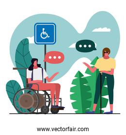 women with wheelchair and blind disable characters