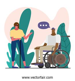 couple blind and wheelchair characters