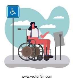 woman in wheelchair disable person character