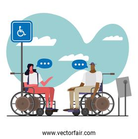 couple in wheelchairs disable characters