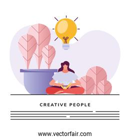 woman reading book and bulb creative character