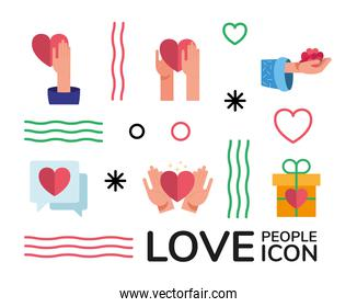 bundle of hands and hearts love people set icons and lettering