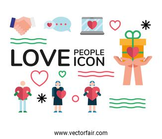 laptop and bundle of love people set icons and lettering