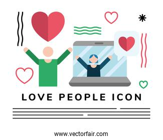 lovers couple lifting hearts with laptop