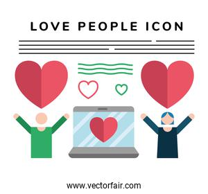 lovers couple lifting hearts with laptop characters