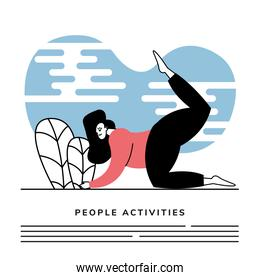 woman practicing exercise activity character icon