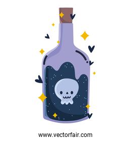 magic potion bottle with skull icon isolated