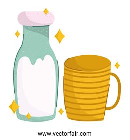 breakfast milk bottle and cup cute food fresh cartoon on white background