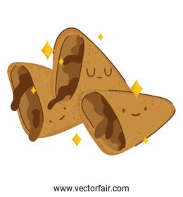 breakfast biscuit with chocolate cute food fresh cartoon on white background