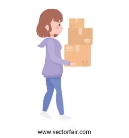 young woman carrying cardboard boxes cartoon