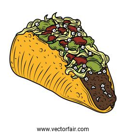 mexican food taco traditional vintage engraved color