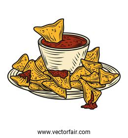 mexican food nachos with hot sauce in dish traditional vintage engraved color