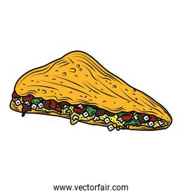 mexican food quesadilla traditional vintage engraved color