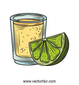mexican food and drink tequila shot with lime traditional vintage engraved color