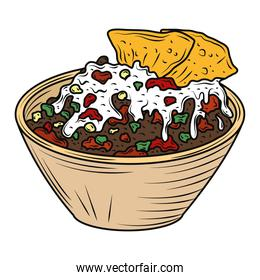 mexican food meat nachos guacamole and sauce in bowl traditional, engraved color
