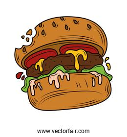 bitten burger fast food, junk food icon isolated design
