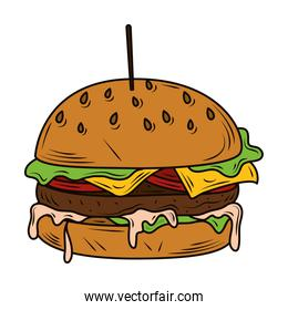 burger with toothpick and delicious ingredients lettuce sauce cheese and tomato