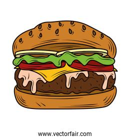 classic burger american with lettuce tomato onion cheese beef and sauce fast food