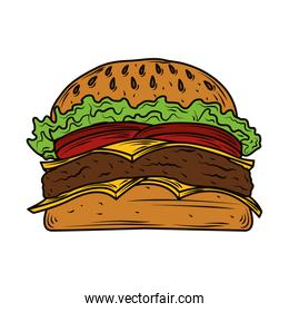 burger fast food with sesame bread, meat and vegetables